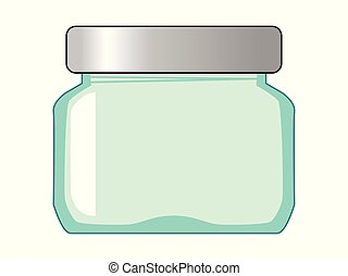 Vector, colored illustration of glass jar. Topics of kitchenware, kitchen, cooking, home object