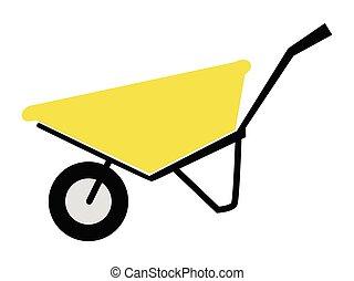 Vector, colored illustration of wheelbarrow