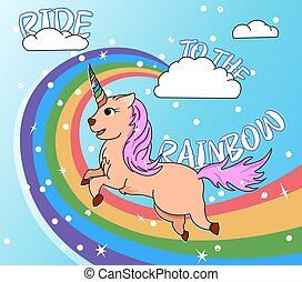 vector colored illustration unicorn running the rainbow