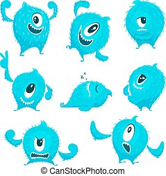 Vector colored monster in cartoon style. Different action poses and cute faces