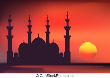 Vector colored mosque - Vector colored mosque