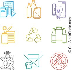 vector colored outline groups infographic various waste icons set for separate collection and recycle garbage