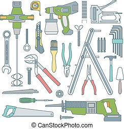 vector colored outline various house repair tools instruments set