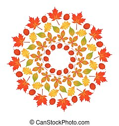vector colored round autumn mandala with leaves of maple, oak, beech, horse chestnut and alder - adult book page