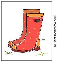 Vector colored rubber boots on white background.