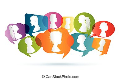 Communication between people. Crowd chatting. Crowd noise. Netowork of people