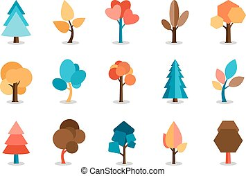 Vector Colored Tree Icons Set - Vector Assorted Colored Tree...