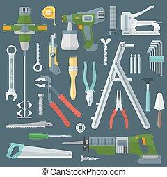 vector colored various flat design house repair tools instruments set