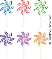 vector colorful and striped pinwheel set