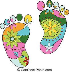 baby feet painted silhouettes
