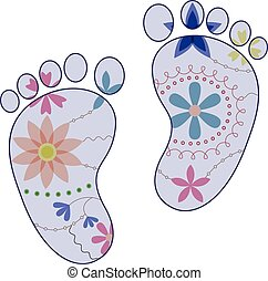 baby feet painted silhouettes vintage boy