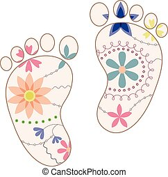 vector colorful baby feet painted silhouettes vintage