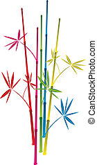vector colorful bamboo branches