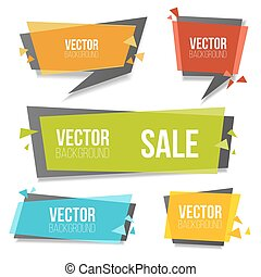 Vector colorful banners set. Geometric banner isolated on white background.