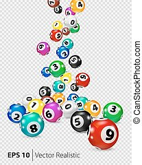 Vector Colorful Bingo balls fall randomly. Lottery Number...