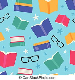Vector Colorful Books Seamless Pattern