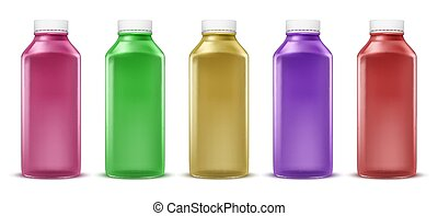 Vector colorful bottles for juice, paint, liquid. Plastic container, glass jar. Isolated on white background.