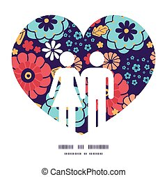 Vector colorful bouquet flowers couple in love silhouettes frame pattern invitation greeting card template