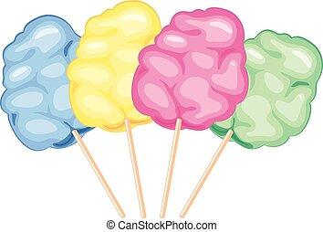 Cotton candy. sugar clouds. watercolor vector illustration.