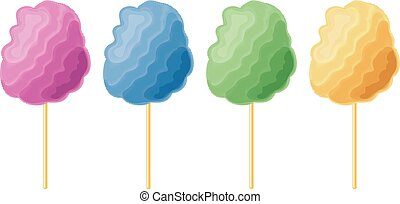 vector colorful candy cotton set isolated on white...
