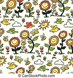 Vector colorful cartoon sunflowers, birds and bees repeat pattern. Suitable for gift wrap, textile and wallpaper.
