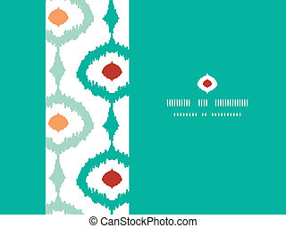 Vector colorful chain ikat frame horizontal seamless pattern background