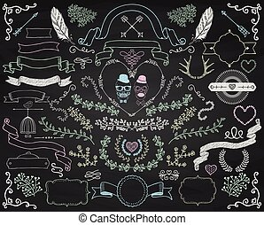 Vector Colorful Chalk Drawing Doodle Design Elements - Set...