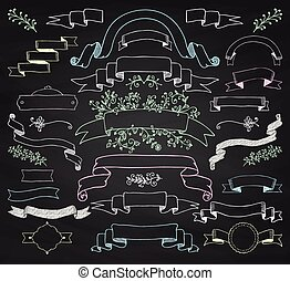 Vector Colorful Chalk Drawing Ribbons, Banners, Florals
