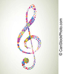 Vector Colorful Clef - Vector Illustration of an Abstract...