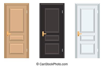 Vector colorful Closed Door with Frame. White black brown doors