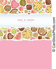 Vector colorful cookies vertical torn frame seamless pattern background with hand drawn elements