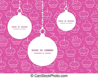 Vector colorful cupcake party Christmas ornaments silhouettes pattern frame card template