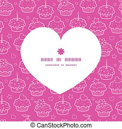 Vector colorful cupcake party heart silhouette pattern frame
