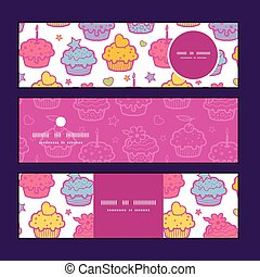 Vector colorful cupcake party horizontal banners set pattern background