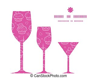 Vector colorful cupcake party three wine glasses silhouettes pattern frame