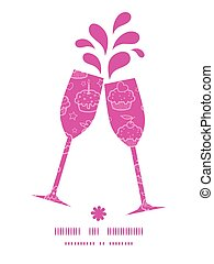 Vector colorful cupcake party toasting wine glasses silhouettes pattern frame