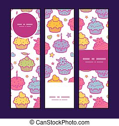 Vector colorful cupcake party vertical banners set pattern background