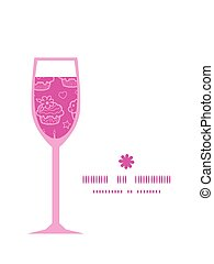 Vector colorful cupcake party wine glass silhouette pattern frame
