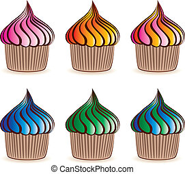 vector colorful cupcakes