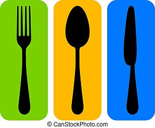 Vector colorful cutlery icon
