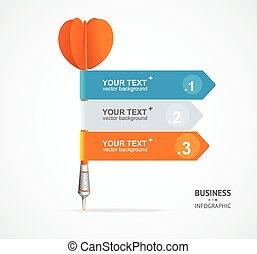 Vector colorful dart arrow like options banner, infographics