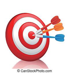 Vector colorful darts hitting a tar - EPS 10