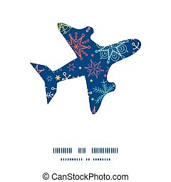 Vector colorful doodle snowflakes airplane silhouette pattern frame