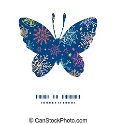 Vector colorful doodle snowflakes butterfly silhouette pattern frame