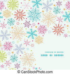Colorful Doodle Snowflakes Corner Frame Seamless Pattern Background
