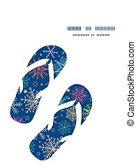 Vector colorful doodle snowflakes flip flops silhouettes...