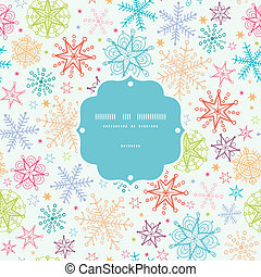 Colorful Doodle Snowflakes Frame Seamless Pattern Background...