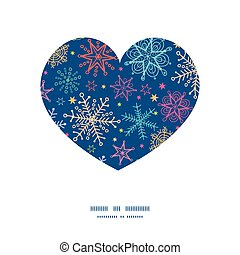 Vector colorful doodle snowflakes heart silhouette pattern frame