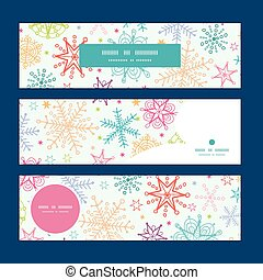 Vector colorful doodle snowflakes horizontal banners set ...