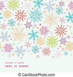 Colorful Doodle Snowflakes Horizontal Border Seamless Pattern Background